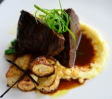 Sticky beef cheek w white polenta and vanilla roasted parsnip (1)